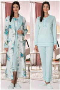 Mecit Turkuaz Sabahlık Gecelik Pijama Set