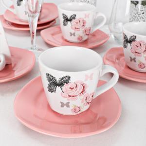 Keramika Gül Trend Çay Takımı 12 Parça 6 Kişilik
