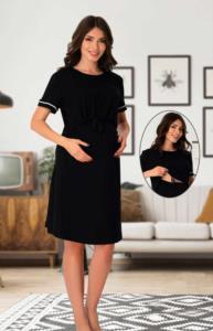 Effort Kolay Emzirme Özellikli Siyah Hamile Elbise 8070