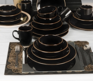 Keramika Ege Siyah Gold Yemek Takımı 30 Parça 6 Kişilik