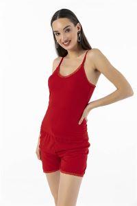 Askılı Dantelli Kaşkorse Şort Bluz Takım Kırmızı