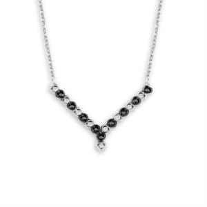 Gümüş Siyah ve Beyaz Küçük Kalpli Kolye KL517