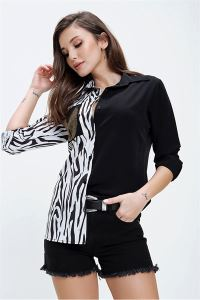 Buketli Zebra Desen Cebi Taşlı Gömlek Siyah