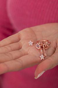 Yıldız ve Göz Model Zirkon Taşlı Rose Kaplama Gümüş Küpe
