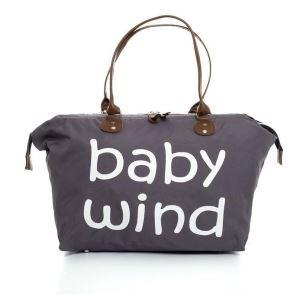 Baby Wind Baskılı Geniş Hacimli Gri Anne Bebek Bakım Omuz Çantası
