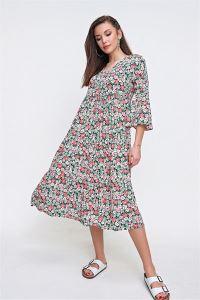 Gelincik Desenli Kuşaklı Viskon Elbise Pembe