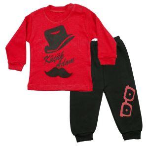 Küçük Adam Kırmızı Siyah 2 li Erkek Bebek Takım