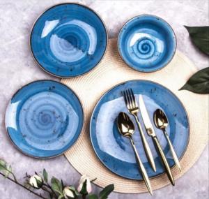Asaf  24 Parça Porselen Yemek Takımı Reactiv Mavi