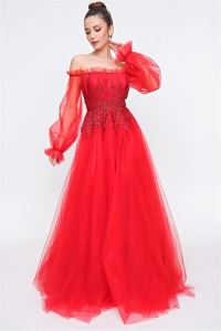 Kayık Yaka Kolu Tüllü Prenses Abye Kırmızı