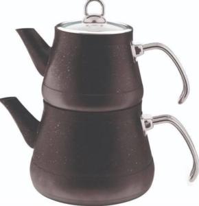 Remetta Granit Metal Kulp Çaydanlık Takımı - Siyah