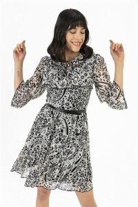 Fırfırlı Şifon Elbise Bej