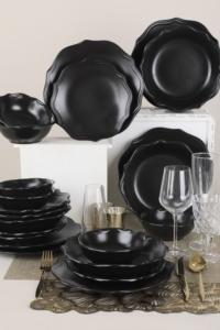 Keramika Romeo Mat Siyah Yemek Takımı 24 Parça 6 Kişilik