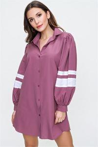 Kolu Şeritli Oversize Gömlek GÜLKURUSU