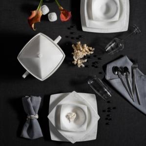 Karaca Fine Pearl Node 62 Parça 12 Kişilik İnci Yemek Takımı Kare