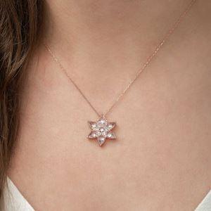 Gümüş Beyaz Lotus Çiçeği Kolye