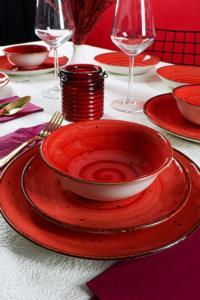 Asaf  24 Parça Porselen Yemek Takımı Reactiv Kırmızı