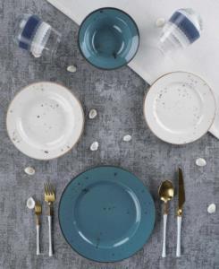 Acar 24 Parça Defne Mavi Porselen Yemek Takımı