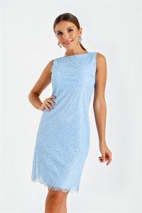 Yuvarlak Yaka Dantelli Abiye Elbise Bebe Mavi