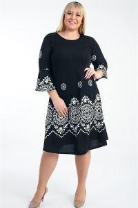 İspanyol Kol Karışık Desenli Örme Krep B.B Elbise Siyah
