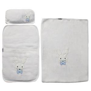 Mavi Papyonlu Tavşan Nakışlı Alt Açma + Battaniye Set