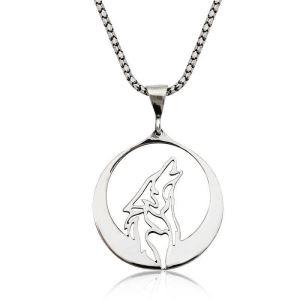 Gümüş Bozkurt Kolye