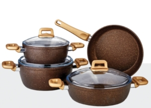Özlife 7 Parça Hüma Kahverengi Granit Set- 620