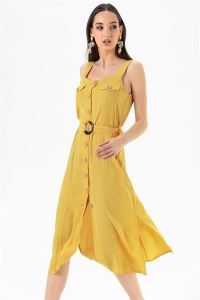 Askılı Düğmeli Krep Elbise Sarı