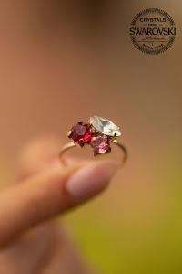Swarovski Taşlı Yaprak Model Rose Kaplama Gümüş Yüzük