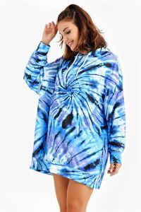 Kapüşonlu Grafik Desenli Oversize Sweat Elbise Mavi