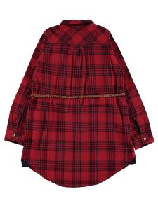 Civil Girls Kız Çocuk Ekose Belli  Kemerli Gömlek 10-13 Yaş Kırmızı