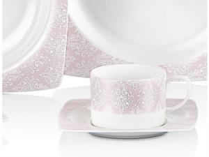 Taç Elegance Pink 85 Parça Bone Yemek Takımı 2058