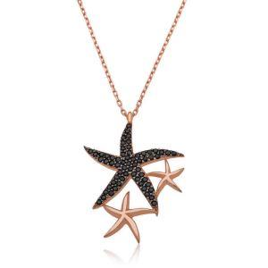 Gümüş Siyah Taşlı Deniz Yıldızları Bayan Kolye