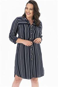 Çizgili Düğmeli Büyük Beden Tunik Elbise Lacivert