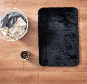 Markaev Tavşan Tüyü Banyo Halısı Siyah