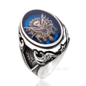 Osmanlı Devlet Arması Desenli Mavi Mineli Gümüş Erkek Yüzük ALKY50