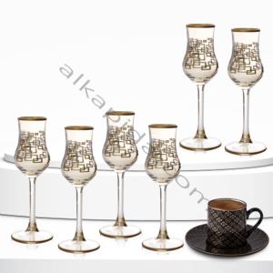 Çınar Kristal 6 Adet Kare Kutu Amber Bistro Kahve Yani Bardak
