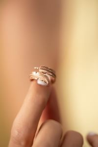 Yaprak Model Rose Kaplama Gümüş İtalyan Yüzük