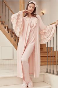 Mecit Pudra İspanyol Kol Sabahlıklı Lohusa Pijama Takımı 5005