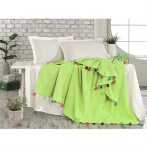 Pop Art Ponponlu Çift Kişilik Pike Takımı Yeşil