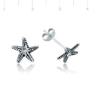 Gümüş Deniz Yıldızı Çivili Küpe