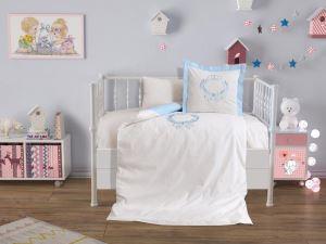 Çeyiz Diyarı Baby Crown Lüx Nakışlı Nevresim Takımı Mavi