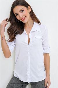Yanları Düğme Aksesuarlı Fleto Cepli Gömlek Beyaz