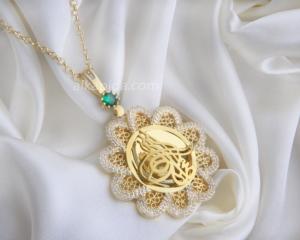 Gümüş İşlemeli Çiçek Tuğralı Plaka Kolye PLK07-GOLD
