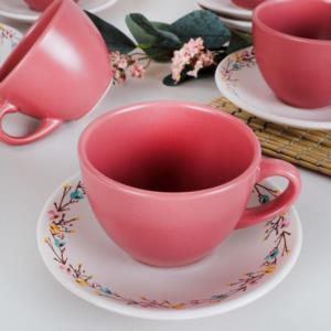 Keramika İlkbahar Çiçekleri Çay Takımı 12 Parça 6 Kişilik