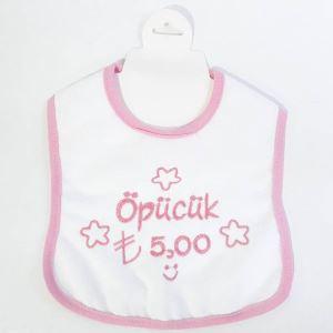 Öpücük 5 TL Yazılı Pembe Biyeli Su Geçirmez Kız Bebek Önlük