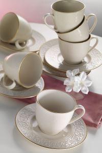 Kütahya Porselen Açelye Krem Altın File Kahve Fincan Takımı