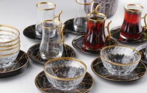 Gürcü Glass  24 Parça Siyah Mermer Desen Çay ve Çerez Seti