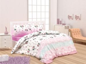 Bedbox Çift Kişilik Polycotton Masal Pembe Desenli  Nevresim Takımı 4066