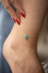 Mavi Nazarlık Model Altın Kaplama Toplu Zincir Gümüş Halhal