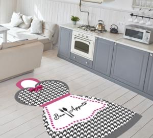 Gosse Saçaksız Mutfak Halısı Bon Appetit Grey & Pink 100X140cm